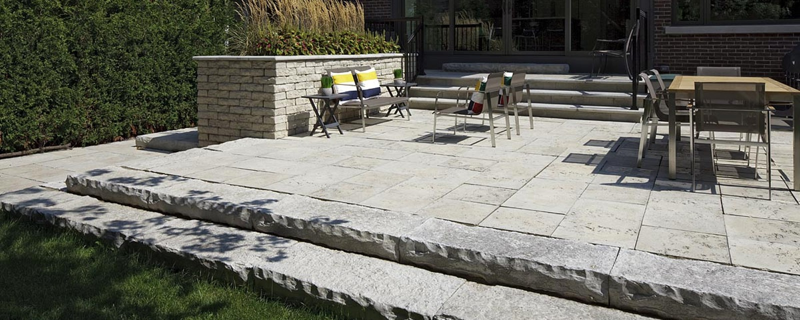Buff Colour Blend Used To Retain Upper Landing And Transition Between Lower Levels Tuscan Limestone Square Cut Flagstone In Random Sizes For The Patio